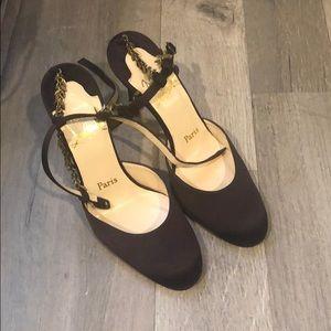 Christian Louboutin satin heels shoes